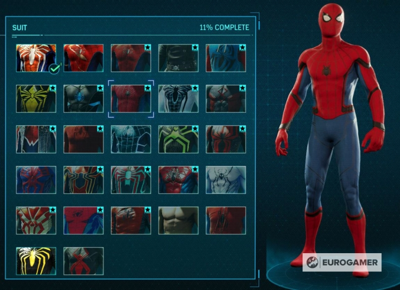 Spider-Man PS4 Suits Screen