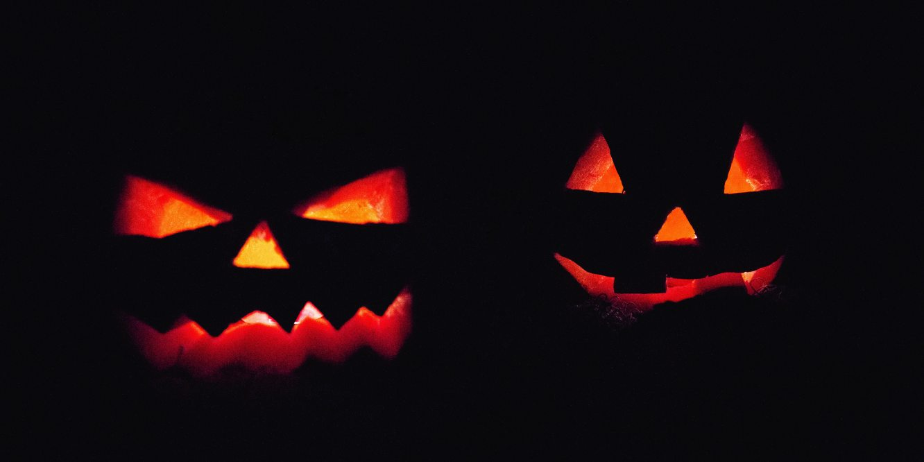 Spooky Jack-o-Lanterns on Halloween night
