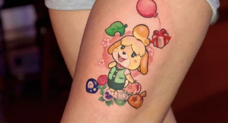 Animal Crossing tattoo of Isabelle