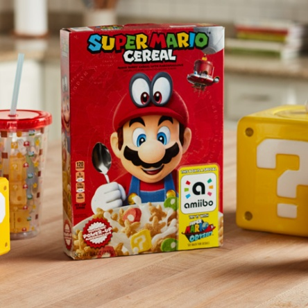 Super Mario Cereal box and mug