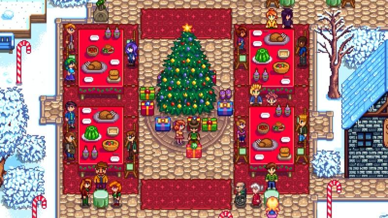 Stardew Valley Christmas celebration