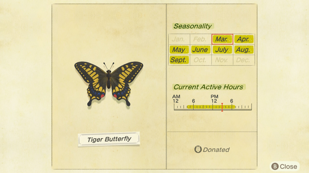 Animal Crossing New Horizons Tiger Butterfly