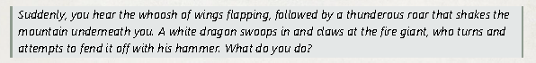 A description of the dragon attack.