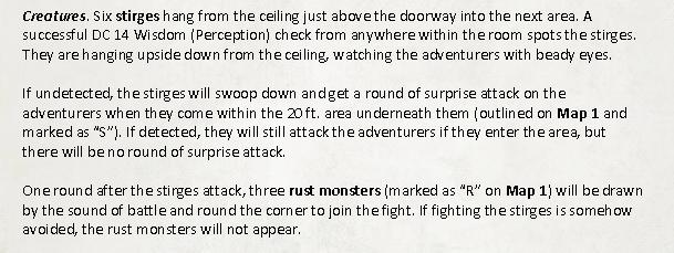A description of the stirge attack.