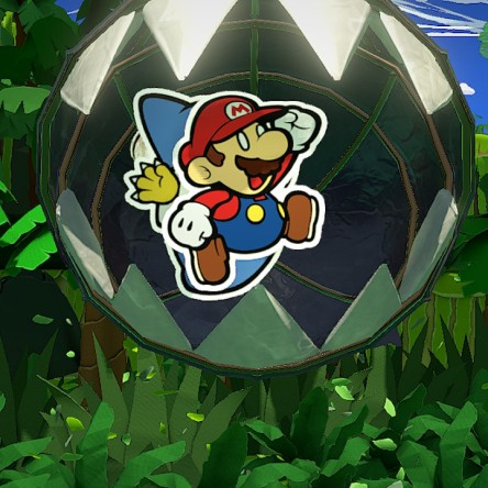 Mario in Mid-Air, About to Be Devoured by a Chain Chomp from Paper Mario: The Origami King