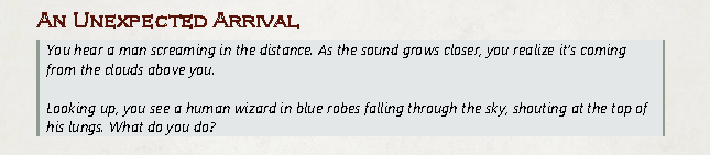 A description of the wizard falling through the clouds.
